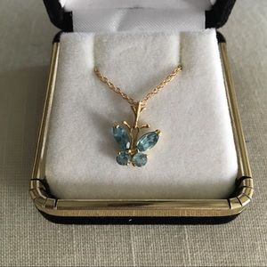 Gold and Topaz Butterfly Necklace
